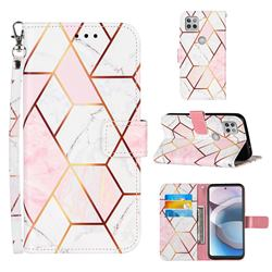 Pink White Stitching Color Marble Leather Wallet Case for Motorola One 5G Ace
