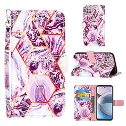 Dream Purple Stitching Color Marble Leather Wallet Case for Motorola One 5G Ace