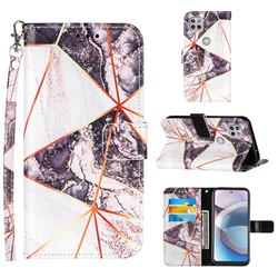 Black and White Stitching Color Marble Leather Wallet Case for Motorola One 5G Ace