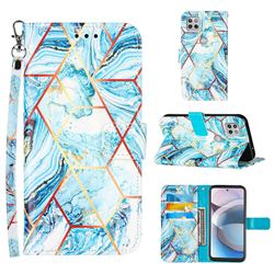 Lake Blue Stitching Color Marble Leather Wallet Case for Motorola One 5G Ace