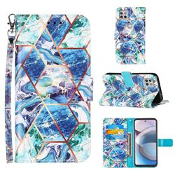 Green and Blue Stitching Color Marble Leather Wallet Case for Motorola One 5G Ace
