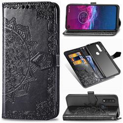 Embossing Imprint Mandala Flower Leather Wallet Case for Motorola One Action - Black