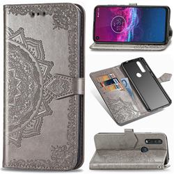 Embossing Imprint Mandala Flower Leather Wallet Case for Motorola One Action - Gray