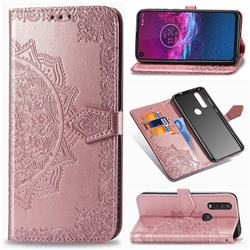 Embossing Imprint Mandala Flower Leather Wallet Case for Motorola One Action - Rose Gold