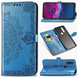 Embossing Imprint Mandala Flower Leather Wallet Case for Motorola One Action - Blue