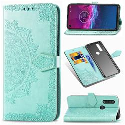 Embossing Imprint Mandala Flower Leather Wallet Case for Motorola One Action - Green