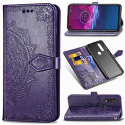 Embossing Imprint Mandala Flower Leather Wallet Case for Motorola One Action - Purple