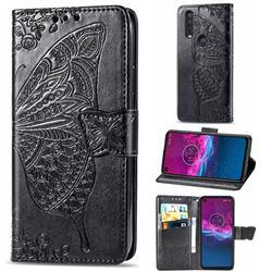 Embossing Mandala Flower Butterfly Leather Wallet Case for Motorola One Action - Black