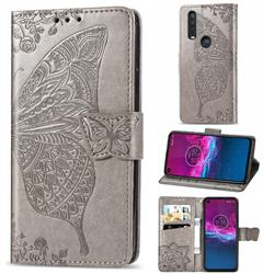 Embossing Mandala Flower Butterfly Leather Wallet Case for Motorola One Action - Gray