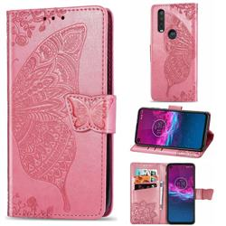 Embossing Mandala Flower Butterfly Leather Wallet Case for Motorola One Action - Pink