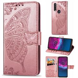 Embossing Mandala Flower Butterfly Leather Wallet Case for Motorola One Action - Rose Gold