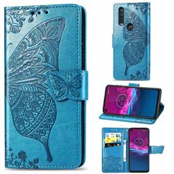 Embossing Mandala Flower Butterfly Leather Wallet Case for Motorola One Action - Blue