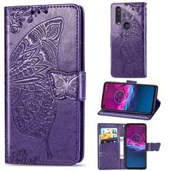 Embossing Mandala Flower Butterfly Leather Wallet Case for Motorola One Action - Dark Purple