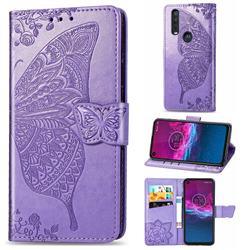 Embossing Mandala Flower Butterfly Leather Wallet Case for Motorola One Action - Light Purple
