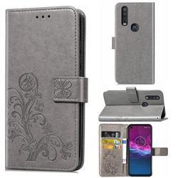 Embossing Imprint Four-Leaf Clover Leather Wallet Case for Motorola One Action - Grey