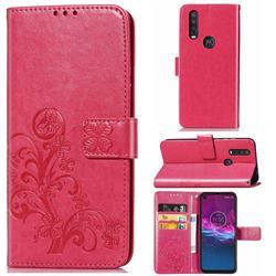 Embossing Imprint Four-Leaf Clover Leather Wallet Case for Motorola One Action - Rose