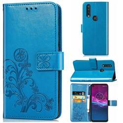 Embossing Imprint Four-Leaf Clover Leather Wallet Case for Motorola One Action - Blue