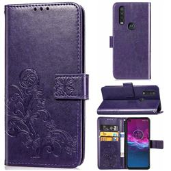 Embossing Imprint Four-Leaf Clover Leather Wallet Case for Motorola One Action - Purple