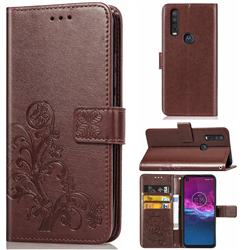 Embossing Imprint Four-Leaf Clover Leather Wallet Case for Motorola One Action - Brown