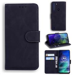 Retro Classic Skin Feel Leather Wallet Phone Case for Motorola Moto One Fusion - Black