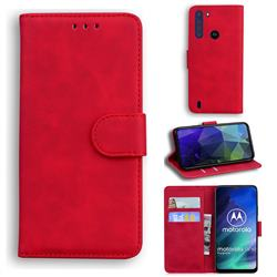 Retro Classic Skin Feel Leather Wallet Phone Case for Motorola Moto One Fusion - Red