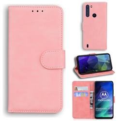 Retro Classic Skin Feel Leather Wallet Phone Case for Motorola Moto One Fusion - Pink