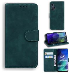 Retro Classic Skin Feel Leather Wallet Phone Case for Motorola Moto One Fusion - Green
