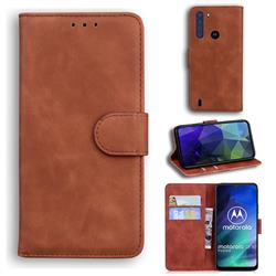 Retro Classic Skin Feel Leather Wallet Phone Case for Motorola Moto One Fusion - Brown