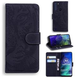 Intricate Embossing Tiger Face Leather Wallet Case for Motorola Moto One Fusion - Black