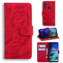 Intricate Embossing Tiger Face Leather Wallet Case for Motorola Moto One Fusion - Red