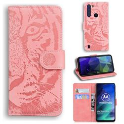 Intricate Embossing Tiger Face Leather Wallet Case for Motorola Moto One Fusion - Pink
