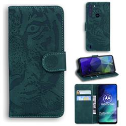 Intricate Embossing Tiger Face Leather Wallet Case for Motorola Moto One Fusion - Green