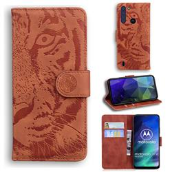 Intricate Embossing Tiger Face Leather Wallet Case for Motorola Moto One Fusion - Brown