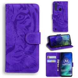 Intricate Embossing Tiger Face Leather Wallet Case for Motorola Moto One Fusion - Purple