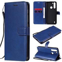 Retro Greek Classic Smooth PU Leather Wallet Phone Case for Motorola Moto One Fusion - Blue