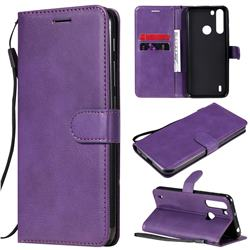 Retro Greek Classic Smooth PU Leather Wallet Phone Case for Motorola Moto One Fusion - Purple