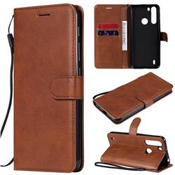 Retro Greek Classic Smooth PU Leather Wallet Phone Case for Motorola Moto One Fusion - Brown