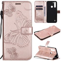 Embossing 3D Butterfly Leather Wallet Case for Motorola Moto One Fusion - Rose Gold