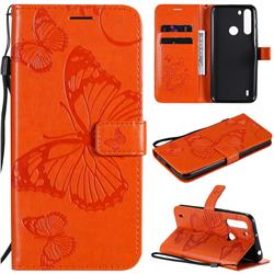 Embossing 3D Butterfly Leather Wallet Case for Motorola Moto One Fusion - Orange
