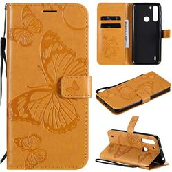 Embossing 3D Butterfly Leather Wallet Case for Motorola Moto One Fusion - Yellow