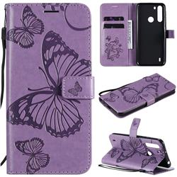 Embossing 3D Butterfly Leather Wallet Case for Motorola Moto One Fusion - Purple