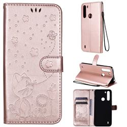 Embossing Bee and Cat Leather Wallet Case for Motorola Moto One Fusion - Rose Gold
