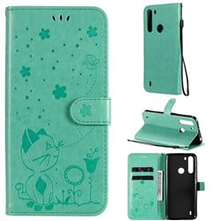 Embossing Bee and Cat Leather Wallet Case for Motorola Moto One Fusion - Green