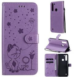 Embossing Bee and Cat Leather Wallet Case for Motorola Moto One Fusion - Purple