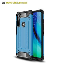 King Kong Armor Premium Shockproof Dual Layer Rugged Hard Cover for Motorola Moto One Fusion Plus - Sky Blue