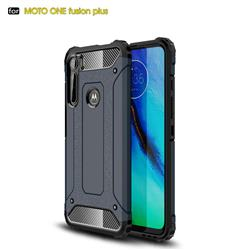 King Kong Armor Premium Shockproof Dual Layer Rugged Hard Cover for Motorola Moto One Fusion Plus - Navy