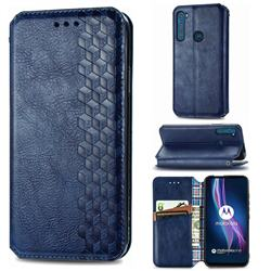 Ultra Slim Fashion Business Card Magnetic Automatic Suction Leather Flip Cover for Motorola Moto One Fusion Plus - Dark Blue
