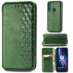 Ultra Slim Fashion Business Card Magnetic Automatic Suction Leather Flip Cover for Motorola Moto One Fusion Plus - Green