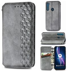 Ultra Slim Fashion Business Card Magnetic Automatic Suction Leather Flip Cover for Motorola Moto One Fusion Plus - Grey