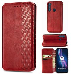 Ultra Slim Fashion Business Card Magnetic Automatic Suction Leather Flip Cover for Motorola Moto One Fusion Plus - Red